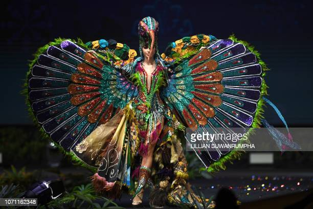 Virginia Limongi Miss Ecuador 2018 walks on stage during the 2018 Miss Universe national costume presentation in Chonburi province on December 10 2018