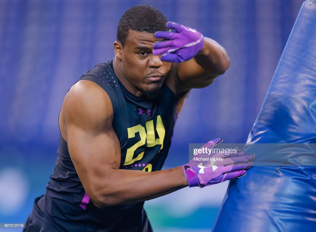 Virginia linebacker Micah Kiser (LB24) runs thru a drilll during the NFL Scouting Combine at Lucas Oil Stadium on March 4, 2018 in Indianapolis, Indiana.