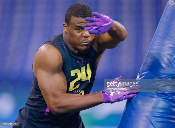 Virginia linebacker Micah Kiser runs thru a drilll during the NFL Scouting Combine at Lucas Oil Stadium on March 4 2018 in Indianapolis Indiana