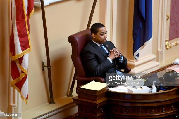 Virginia Lt Gov Justin Fairfax presides over the Senate proceedings February 08 2019 in Richmond VA The top three Democrats in the Virginia...