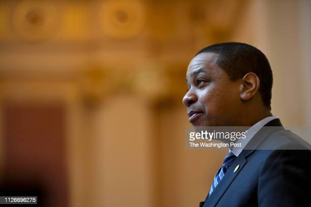 Virginia Lt Gov Justin Fairfax presides over the Senate proceedings February 08 2019 in Richmond VA Facing two sexual assault allegations Fairfax has...