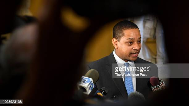 Virginia Lt Gov Justin Fairfax talks with the press to address and deny a sex assault allegation from 2004 in the State Capitol February 04 2019 in...