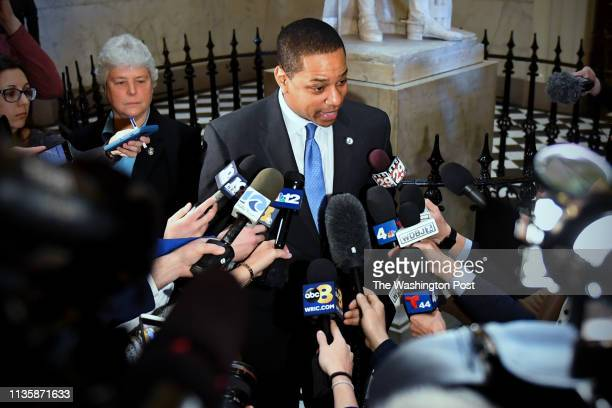 Virginia Lt. Gov. Justin Fairfax talks with the press to address and deny a sex assault allegation from 2004 in the State Capitol February 04, 2019...