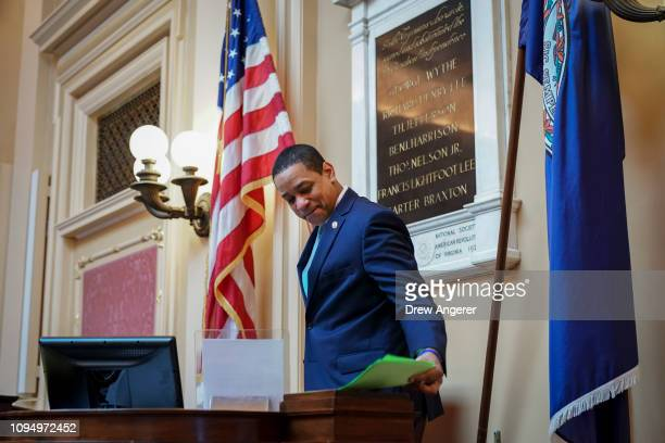 Virginia Lt Governor Justin Fairfax arrives in the Senate chamber at the Virginia State Capitol February 7 2019 in Richmond Virginia Virginia state...