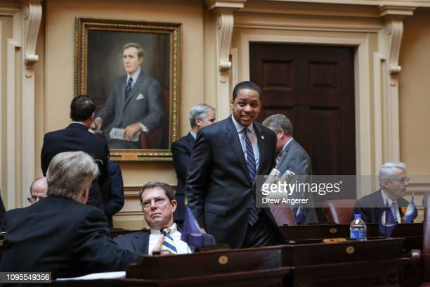 Virginia Lt Governor Justin Fairfax arrives on the Senate floor at the Virginia State Capitol February 8 2019 in Richmond Virginia Virginia state...
