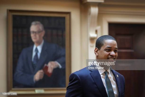 Virginia Lt Governor Justin Fairfax enters the Senate chamber at the Virginia State Capitol February 7 2019 in Richmond Virginia Virginia state...