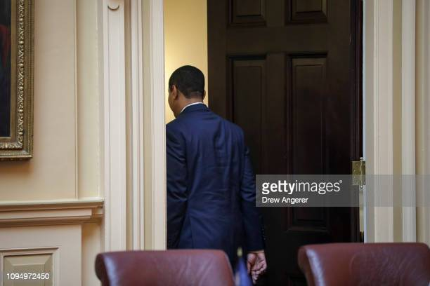 Virginia Lt Governor Justin Fairfax exits the Senate chamber floor at the Virginia State Capitol February 7 2019 in Richmond Virginia Virginia state...