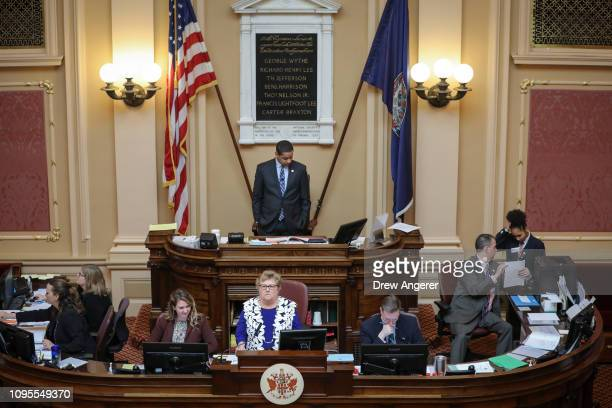Virginia Lt Governor Justin Fairfax presides over a session on the Senate floor at the Virginia State Capitol February 8 2019 in Richmond Virginia...