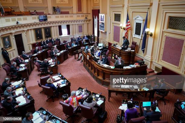Virginia Lt. Governor Justin Fairfax presides over a session on the Senate floor at the Virginia State Capitol, February 8, 2019 in Richmond,...