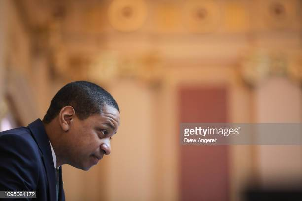 Virginia Lt Governor Justin Fairfax presides over the Senate at the Virginia State Capitol February 7 2019 in Richmond Virginia Virginia state...