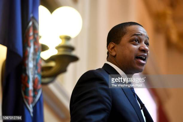 Virginia Lt Governor Justin Fairfax presides over the Senate session in the State Capitol February 05 2019 in Richmond VA He has denied sexual...