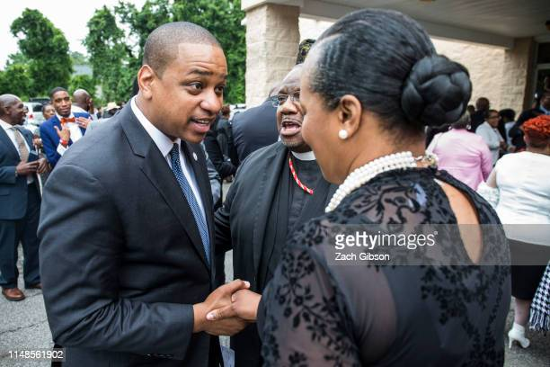 Virginia Lt Governor Justin Fairfax speaks to family friends and mourners following the funeral of Ryan Keith Cox a victim in the June 1 Virginia...