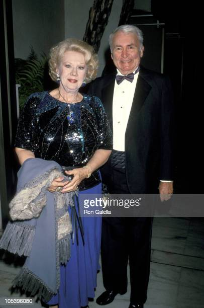 Virginia Mayo and Lee Graham during 34th Annual Thalians Ball at Century Plaza Hotel in Century City California United States