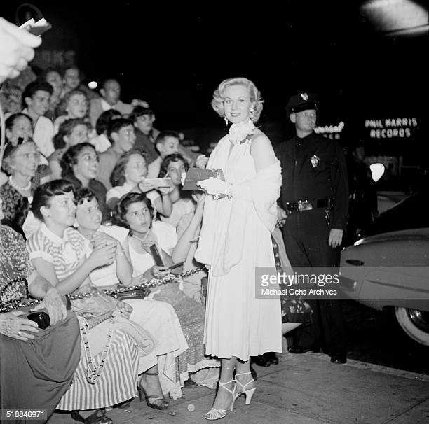 Virginia Mayo attends a premiere in Los AngelesCA