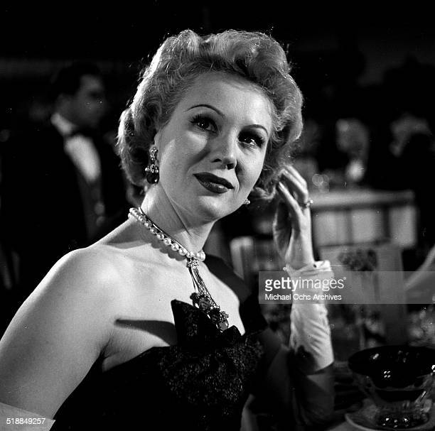 Virginia Mayo attends the Emmy Awards in Los AngelesCA