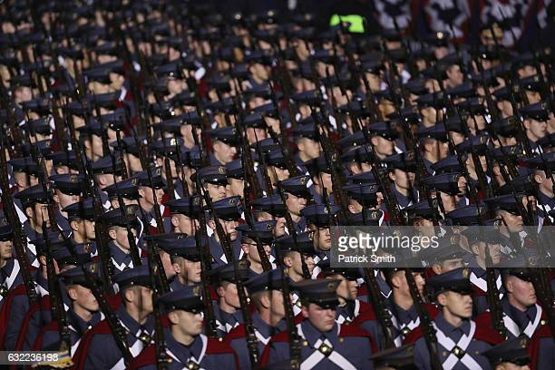 Virginia Military Institute troops march during the Inaugural Parade on January 20 2017 in Washington DC Donald J Trump was sworn in today as the...