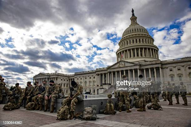 Virginia National Guard soldiers on the east front of the U.S. Capitol on January 17, 2021 in Washington, DC. After last week's riots at the U.S....