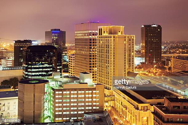 usa, virginia, norfolk, cityscape at evening - norfolk virginia stock pictures, royalty-free photos & images