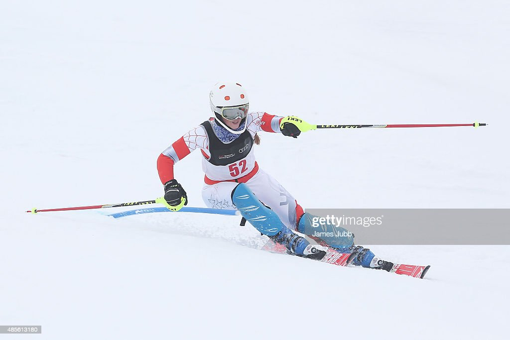 Virginia Orange of New Zealand competes in the Alpine Slalom - FIS Australia New Zealand Cup during the Winter Games NZ at Coronet Peak on August 29, 2015 in Queenstown, New Zealand.