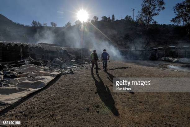 Virginia Padilla left and her brother Jaime Padilla assess their Padilla Ranch on Little Tujunga Road where 29 horses perished in Creek Fire...