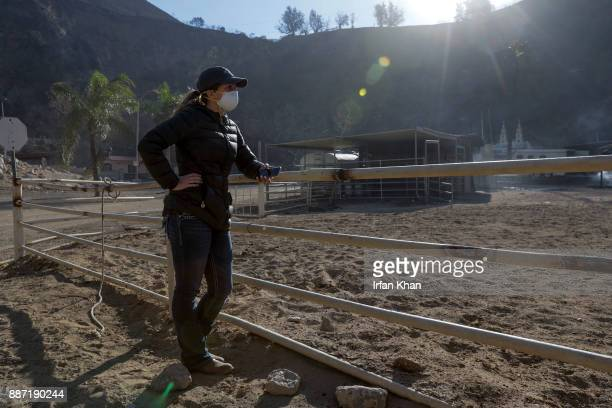 Virginia Padilla looks her Padilla Ranch on Little Tujunga Road where 29 horses perished in Creek Fire yesterday on December 6 2017 in Sylmar...