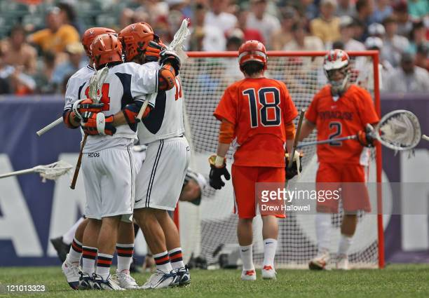 Virginia players celebrate a goal in the Division I Lacrosse Semi-Finals Saturday, May 27, 2006 at Lincoln Financial Field in Philadelphia, PA....