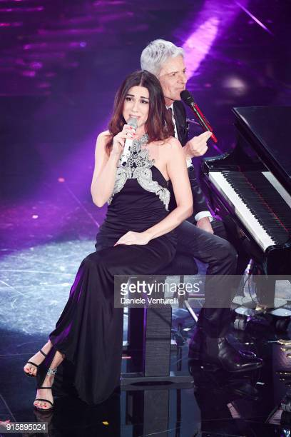 Virginia Raffaele and Claudio Baglioni attend the third night of the 68 Sanremo Music Festival on February 8 2018 in Sanremo Italy