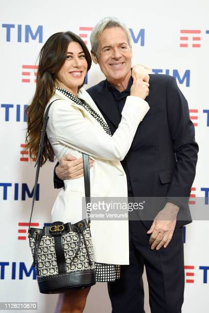 Virginia Raffaele and Claudio Baglioni attends a photocall on the fourth day of the 69. Sanremo Music Festival at Teatro Ariston on February 08, 2019...