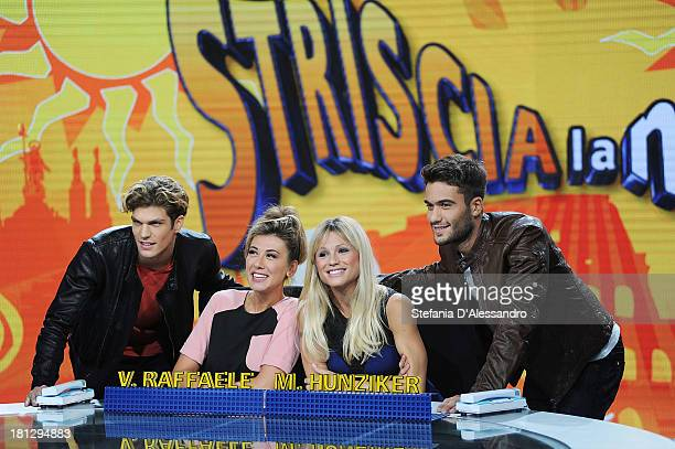 Virginia Raffaele Michelle Hunziker Pierpaolo Petrelli and Elia Fongaro attend 'Striscia La Notizia' TV Show Photocall on September 20 2013 in Milan...