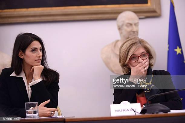 Virginia Raggi and Paola Muraro in Campidoglio for the press conference of the new services of AMA for separate collectionon November 28 2016 in Rome...