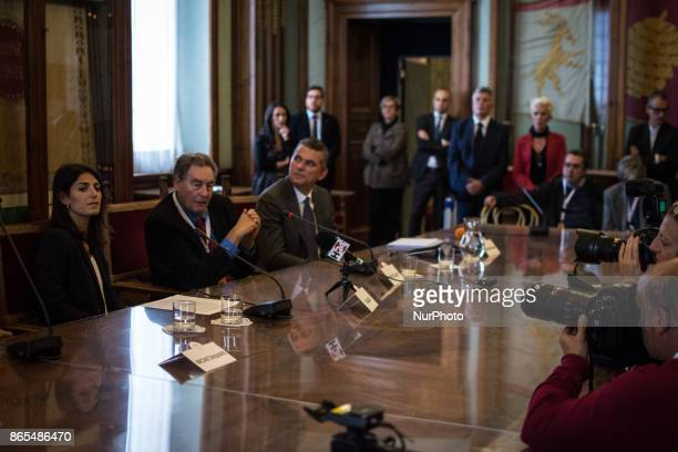 Virginia Raggi and Paul Connett during 'Zero Waste' press conference in Rome Italy on 23 October 2017 With this aim Rome hosts until Thursday October...