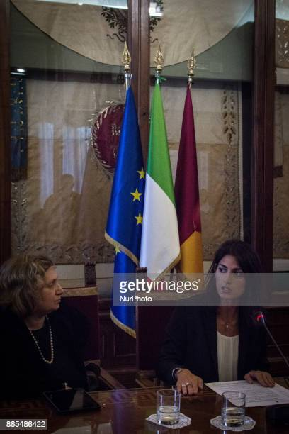 Virginia Raggi and Pinuccia Montanari during 'Zero Waste' press conference in Rome Italy on 23 October 2017 With this aim Rome hosts until Thursday...