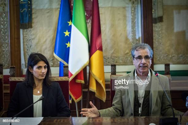 Virginia Raggi and Rossano Ercolini during 'Zero Waste' press conference in Rome Italy on 23 October 2017 With this aim Rome hosts until Thursday...