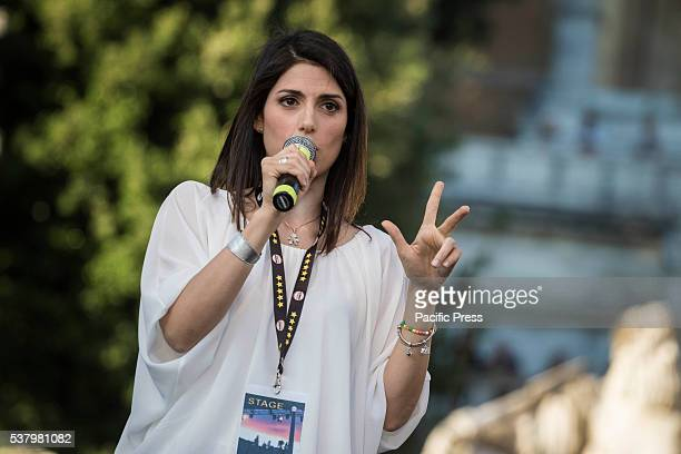 Virginia Raggi candidate for mayor in Rome attends the closing act of the electoral campaign at Piazza del Popolo in Rome The first round of the...