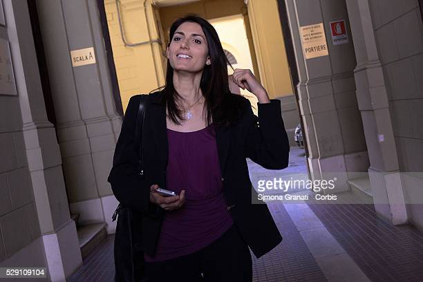 Virginia Raggi candidate for mayor of Rome for the 5 Star Movementi in the headquarters of the UIL Union to answer six questions that the union makes...