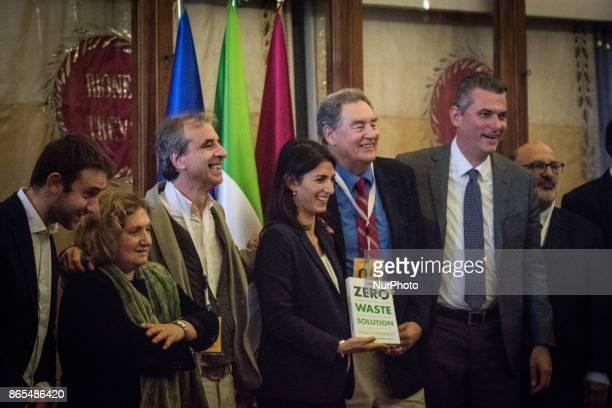Virginia Raggi Daniele Diaco Paul Connett Pinuccia Montanar Lorenzo Bagnacani Rossano Ercolini during 'Zero Waste' press conference in Rome Italy on...