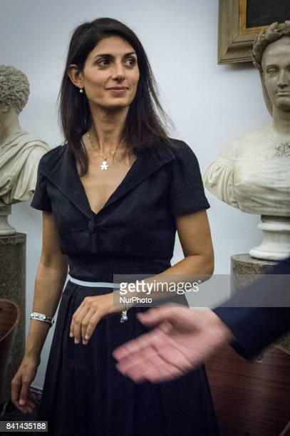 Virginia Raggi during a press conference at Rome's Capitol Hill on August 31 2017 in Rome Italy The Brazilian soccer club that was devastated by an...