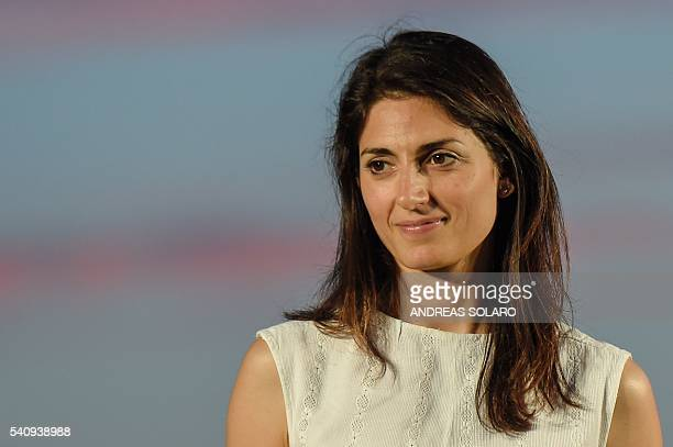 Virginia Raggi Five Star Movement candidate for the mayoral elections in Rome looks on during her last campaign meeting on June 17 2016 at Ostia Lido...