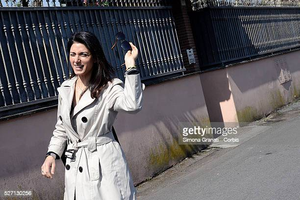 Virginia Raggi mayor candidate of Rome for the Moviment 5 Star visit Prenestino District and meets the citizens in the market on April 5 2016 in Rome...