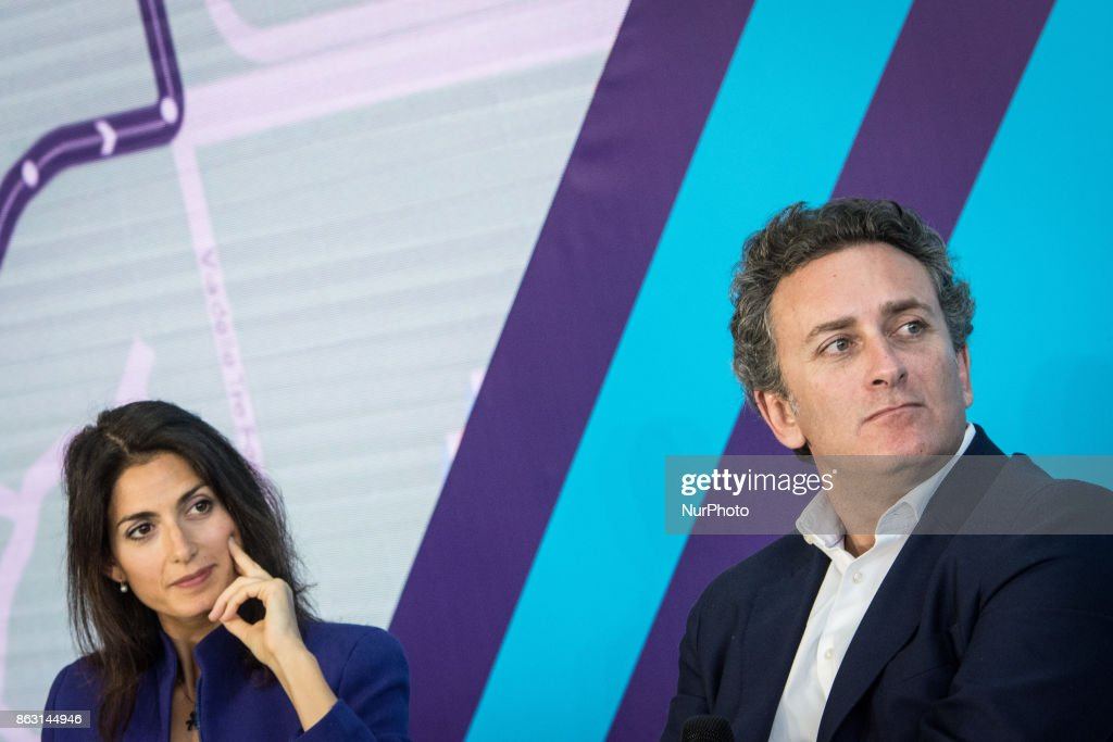 Virginia Raggi (L), Mayor of Rome, and Alejandro Agag, CEO of Formula E Holdings Ltd., attend a press conference in Rome, Italy on October 19, 2017. Rome will be hosting a Formula E world championship race next April 2018.