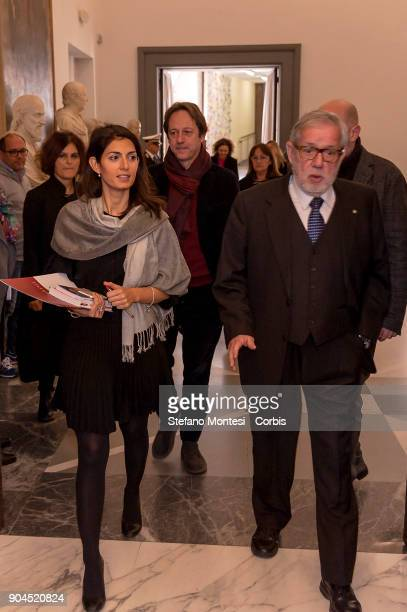 Virginia Raggi Mayor of Rome and Professor Giovanni Maria Flick former President of the Constitutional Court present the event 'Happy Birthday...