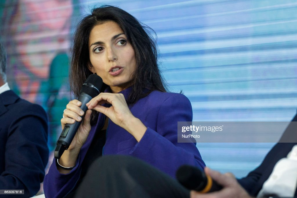 Virginia Raggi, Mayor of Rome, attends a press conference in Rome, Italy on October 19, 2017. Rome will be hosting a Formula E world championship race next April 2018.
