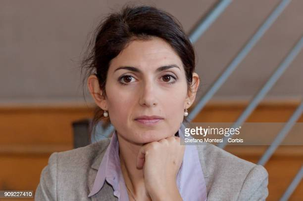 Virginia Raggi Mayor of Rome Cduring the presentation of data on tourism in Rome in 2017 on January 23 2018 in Rome Italy