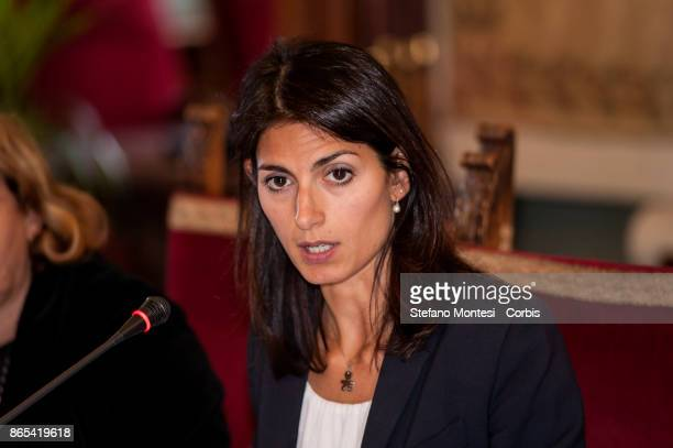 Virginia Raggi Mayor of Rome during meet in Campidoglio for the 'Zero Waste' objective with the International Advisory Board for Rome for zero waste...