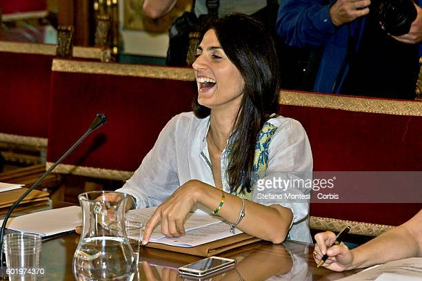 Virginia Raggi mayor of Rome during the city council at the Capitol on Settemper 9 2016 in Rome Italy