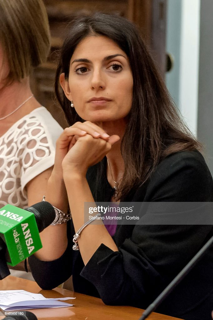 Virginia Raggi, Mayor of Rome during the conference on Judge Rosario Livatino, killed in 1990 by the mafia, at the Campidoglio on September 14, 2017 in Rome, Italy. One week after the commemorative date of the murder of Judge Rosario Livatino, magistrate symbol of Legality and Justice, murdered by the Mafia on September 21,1990, at the age of 38 years, along State Road 640, between Agrigento and Caltanissetta, Sicily, is remembered in the Capitol with a conference and documentary.