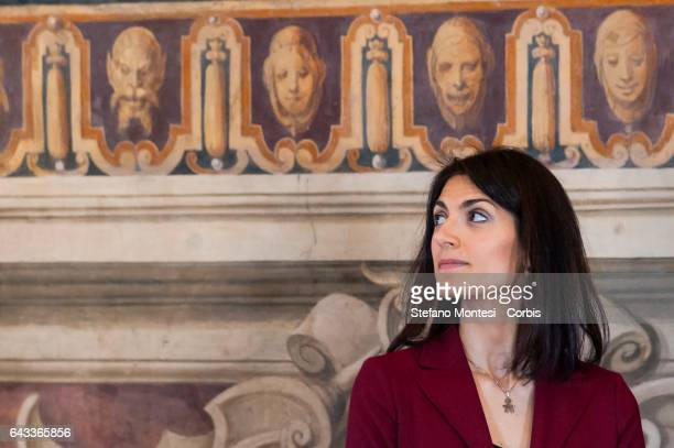 Virginia Raggi mayor of Rome during the inauguration for the reopening in the Capitol in the Capitoline museums of the restoration of the Orazi and...