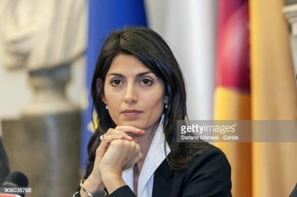 Virginia Raggi Mayor of Rome during the press conference in Campidoglio for the signing of the Memorandum of Understanding between Conai Roma...