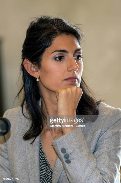 Virginia Raggi mayor of Rome during the press conference in Campidoglio to present the 'Journey of Memory ' 2017 to Auschwitz and Birkenau on October...