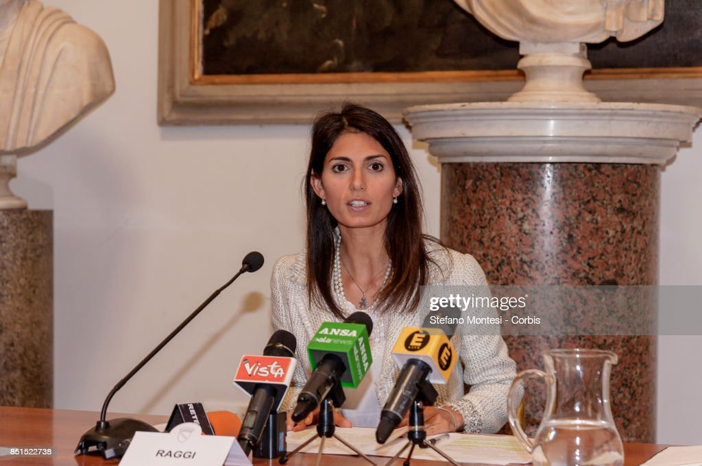 Virginia Raggi, Mayor of Rome present the project for the requalification of the former General Markets on September 22, 2017 in Rome, Italy. The project includes a public gallery, a new municipal library, a main course, three squares, an elderly centre, a conference room, a cinema, a sports area, a shopping area and an accommodation area with student buildings.